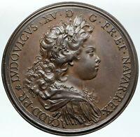 1720 FRANCE King LOUIS XV & DUKE PHILIP of ORLEANS Antique FRENCH Medal i87413