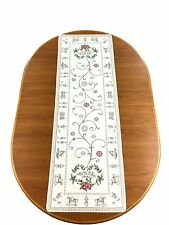 Jacquard Table Runner Noel Christmas Holly Beige/Silver Made In France