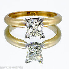 1.06 Ct Princess Cut Diamond Solitaire Ring J SI1 14k Yellow Gold