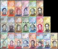 VENEZUELA 2007 2018 FULL SET 21 PCS 2-100000 & 2-500 BOLIVARES SOBERANOS UNC-NEW