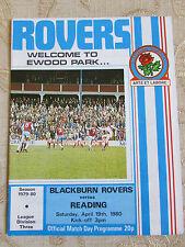 El Oficial Match Day Programa De Blackburn Rovers & lectura 1980