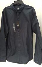 NWT A/X Armani Exchange Mens Dark Blue Dress Button Up Shirt Solid SLIM XL NEW