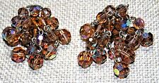 VINTAGE GORGEOUS AMBER COLOR FACETED CRYSTAL 8 STRAND DANGLE CLIP ON EARRINGS
