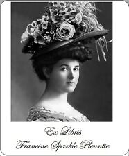 Great Gift for Book Lover! Personalized Ex Libris  Fun Image of Lady With Hat