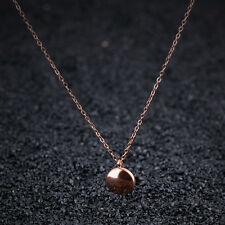 Smooth Round Beans Link Chain Rose Gold GP Stainless Steel Pendant Necklace Gift