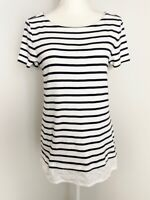 Tommy Hilfiger Womens Tunic Top Size M White Navy Striped Boat Neck Lace Trim