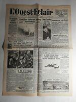 N425 La Une Du Journal  L'ouest-éclair 23 août 1940 meilleur carburant national
