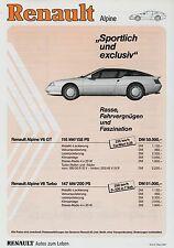 Renault alpine v6 turbo gt liste de prix 3/87 PRIX LISTE du prix price list voiture