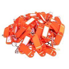 (Lot of 100) Key ID Tags Labels Keychain Split Key Ring Name Tag Orange USA Ship