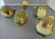 SMALL RESIN GREEN WARBLER BIRDS  ADORABLE  SET OF 4   BRAND NEW