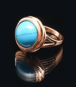 RUSSIAN 14k ROSE GOLD FILLED BLUE TURQUOISE  LARGE ROUND  RING  8P
