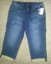Women's Seven7 Distressed Jean Capri's, size 10, dark wash, NWT