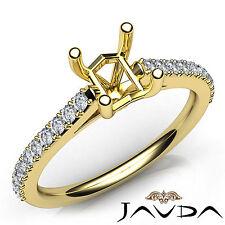 Prong Setting Asscher Diamond Engagement Semi Mount Ring 14k Yellow Gold 0.3Ct