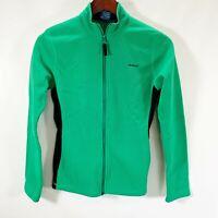 Reebok Fleece Full Zip Jacket Lightweight Green Black Size XS