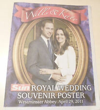 *NEW* ROYAL WEDDING NEWSPAPERS The Sun Prince William & Kate Middleton Poster