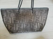 Authentic Silver Bronze Metallic Fendi Braided Leather Tote Handbag & Dust Bag