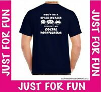 Social Distancing Don't be a Space Invader Mens unisex T-shirt fun lockdown