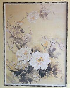 Blossom Camellia Flowers Cherry Branches Birds Watercolor Signed Haruyo Morita