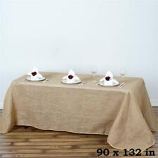 "Natural BURLAP 90x132"" Rectangle TABLECLOTH Country Wedding Party Catering Linen"