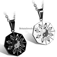 Men Women Taiji Bagua Eight Trigrams Pendant Stainless Steel Chain Necklace  22""