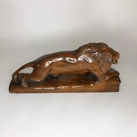 "Mid-Century Wooden Lion Statue 17"" x 8"""