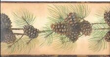 Beautiful Pine Cone & Needles on Backlit Gold Wallpaper Border BG1669BD