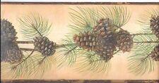 Beautiful Pine Cone & Needles on Backlit Gold Wallpaper Border BG1669BD