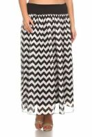 New CANARI Women's Plus Size Black White Chevron Lined Wide Waist Band Skirt