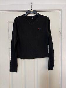 Diesel Black Long Sleeve T Shirt Top Women Size Large L (N105) Crew Neck Cotton