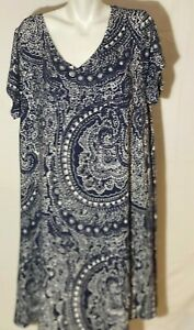 Cynthia Rowley Women Dress 2X XXL Rayon Navy Blue White Swing Wide Loose NWT