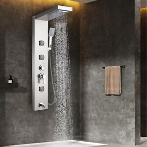Stainless Steel Shower Panel Tower Rain Waterfall Massage System Jets Spray Taps
