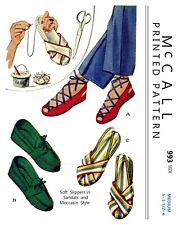 Vintage McCall Sandal Moccasin Slippers Fabric Sewing Pattern #993