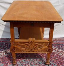 Victorian Solid Tiger Oak Carved Pastry Table - Superior Carving & Decorations