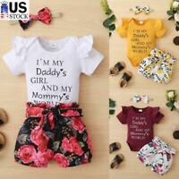 Newborn Baby Girl Jumpsuit Tops Floral Shorts Headband Set Infant Outfits Clothe