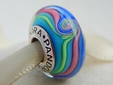 Beautiful Pandora Murano Glass Charm Bead Rainbow Swirl stamped Silver S925 ALE