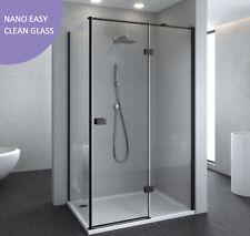 Melbourne Matt Black Shower Screen Pivot Door 850x850x2000mm, Nano Easy Clean