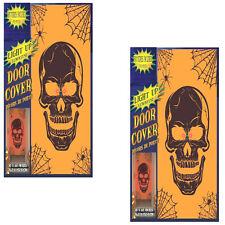 2 Schaurige Tür Poster Totenkopf mit Licht Dekoration Halloween Horror Deko
