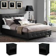 3 Pieces Queen Bedroom Set Modern Design Black Leather Platform Bed 2 Nightstand