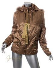 K-Yen Size L Gold Down Filled Parka Coat NWT Raccoon Trim Jacket