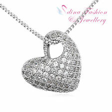18K White Gold Plated AAA Grade Cubic Zirconia Delicate Heart Silver Necklace