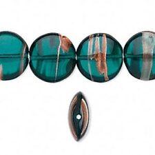 4511 Premium Czech Glass Bead Green Puff Flat Round PK4 14mm *UK EBAY SHOP*