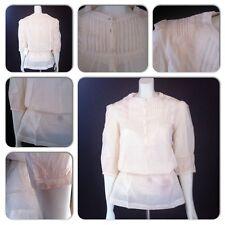 Womens Versatile Pintuck Blouse Elasticated Waist Button 3/4 Sleeve Shirt Top