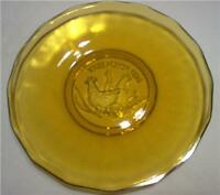 """TIARA AMBER THREE FRENCH HENS HOLIDAY PLATE 8"""" VINTAGE"""
