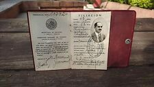 OLD VINTAGE 1943 RARE MEXICAN LEATHER INSURANCE BROKER ACCREDITATION MEXICO NICE