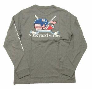 Vineyard Vines Men's Gray Heather Crossed Sticks Hockey Whale Pocket T-Shirt