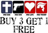 """Trump Bumper Sticker - Pro God, Prof Life, Pro Gun Pro Trump 8.8"""" x 3"""" Sticker"""