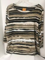 RUBY RD WOMAN Knit Top  3/4 Sleeve SZ 3X- Gray Black White  Beaded Cotton Blend