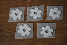 5x Blume Nr.2 Weiß Samt Flock Applikation zum aufbügeln Flicken Aufnäher Patch