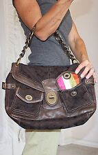 COACH AUTHENTIC $598 LEIGH LEGACY Stripe Limited Edition Hobo Purse Bag Brown