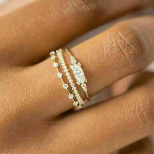 Fashion Women 925 Silver Rings White Sapphire Wedding Ring Jewelry Size 6-10